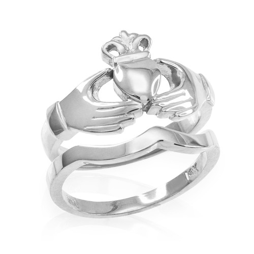 2-Piece Sterling Silver Classic Claddagh Engagement Ring Band