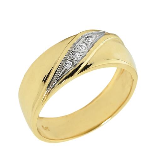 Solid Yellow Gold Men's Diamond Wedding Band