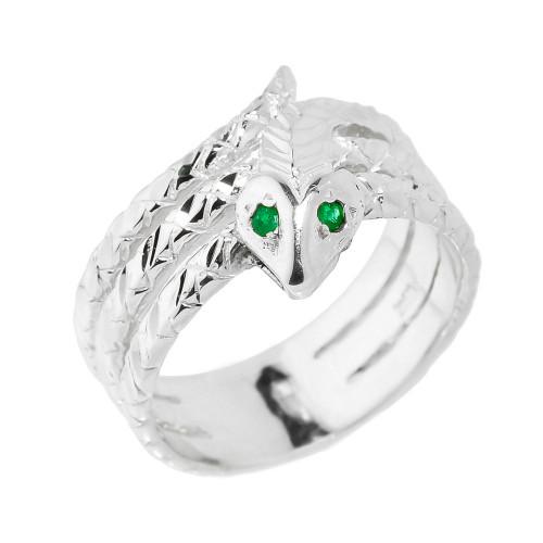 White Gold Diamond-Cut Coiled Snake Ring