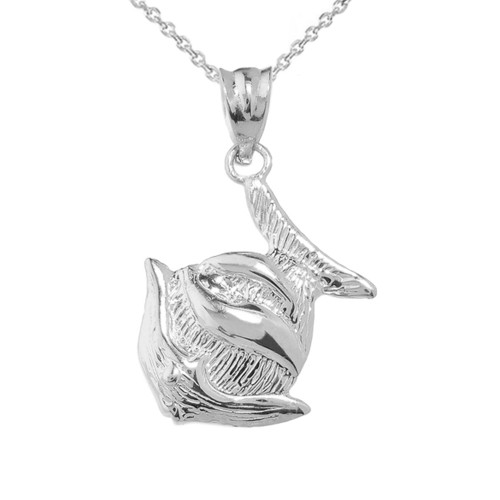 Sterling Silver Clown Fish Charm Pendant Necklace