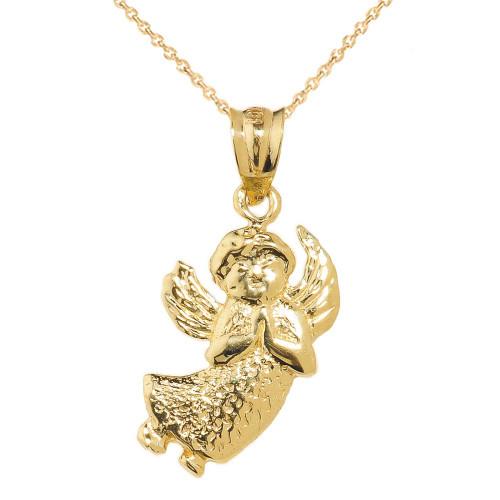 Yellow Gold Angel Charm Pendant