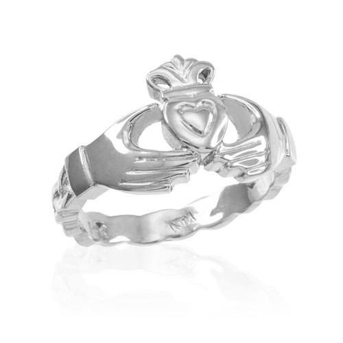 Sterling Silver Claddagh Engagement Ring with Celtic Band