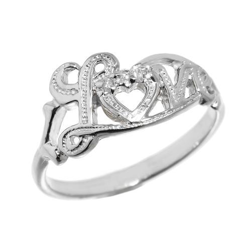 """Love"" Script White Gold Diamond Ring"