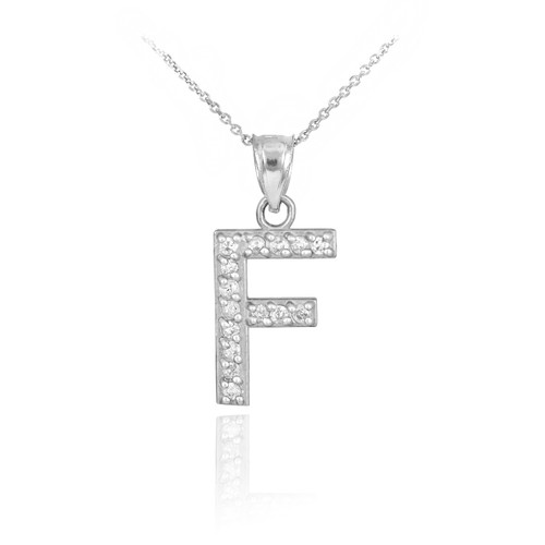 """Sterling Silver Letter """"F"""" CZ Initial Pendant Necklace"""