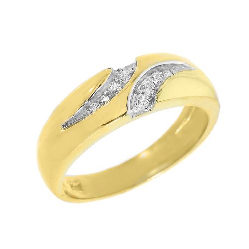 Men's Yellow Gold Diamond Wedding Band