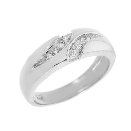 Men's Sterling Silver Diamond Wedding Band