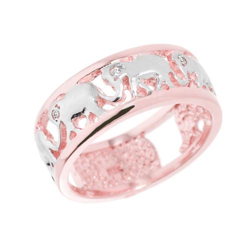 Solid Rose Gold Openwork Diamond Elephant Ring