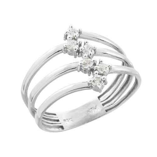 White Gold Three-Band CZ Ring