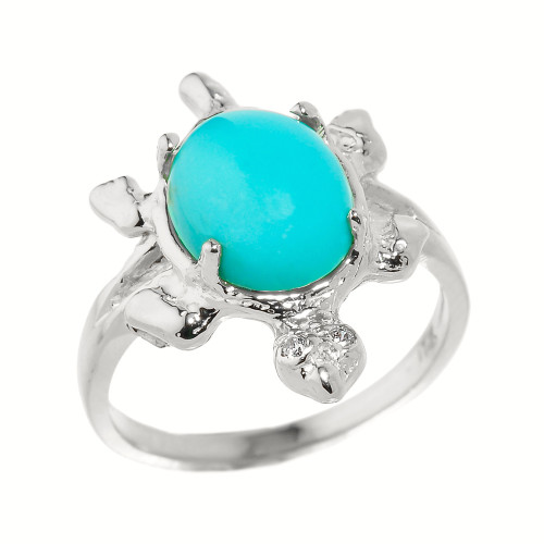 Sterling Silver Ladies Diamond and Turquoise Gemstone Turtle Ring