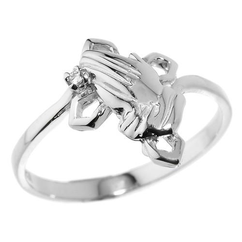 Sterling Silver Praying Hands Diamond Ring