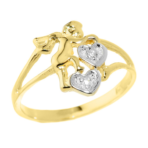 Yellow Gold Angel with Diamond and Hearts Ladies Ring