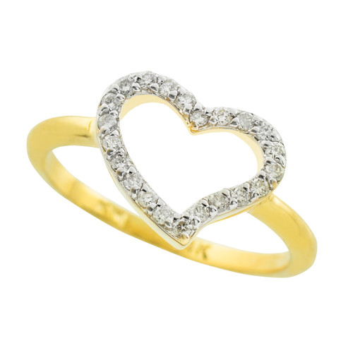 Gold Diamond Heart Ring