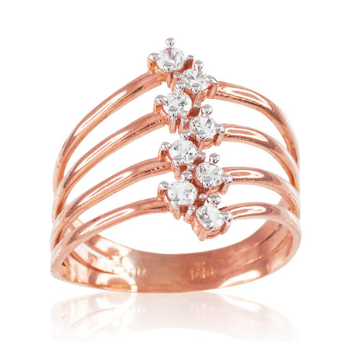 Rose Gold Four-Band CZ Ring