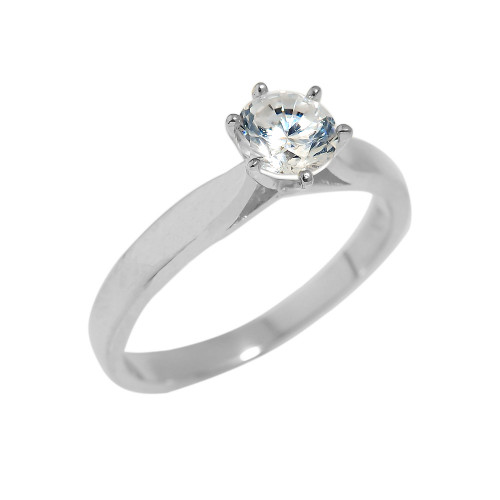 Solid White Gold Cubic Zirconia Engagement Ring