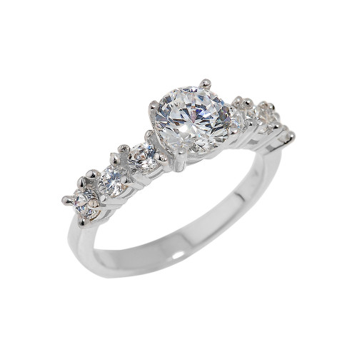 Sterling Silver CZ-Studded Engagement Ring