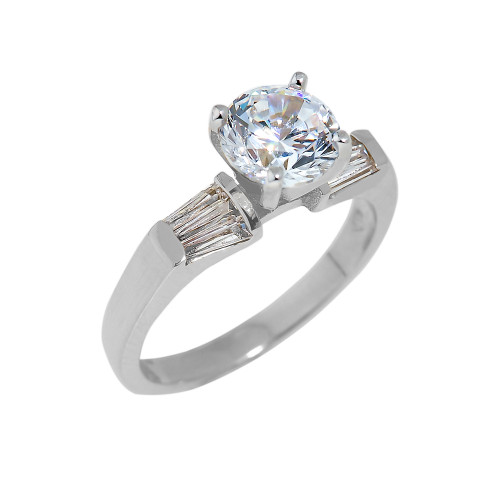 Sterling Silver CZ Engagement Ring with Baguette Sidestones