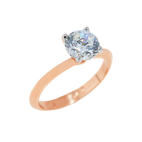 Rose Gold Engagement Ring with Round Cut Cubic Zirconia
