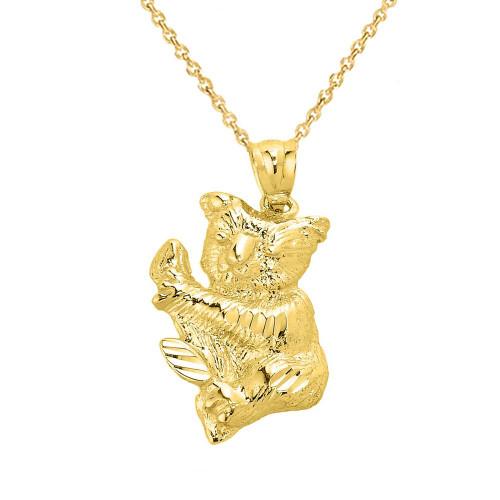 Solid Yellow Gold Diamond Cut Koala Bear Pendant