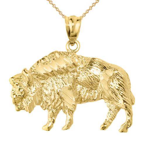 Yellow Gold Diamond Cut Bison Pendant Necklace