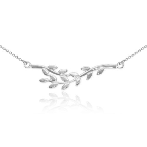14K Polished White Gold Olive Branch Necklace
