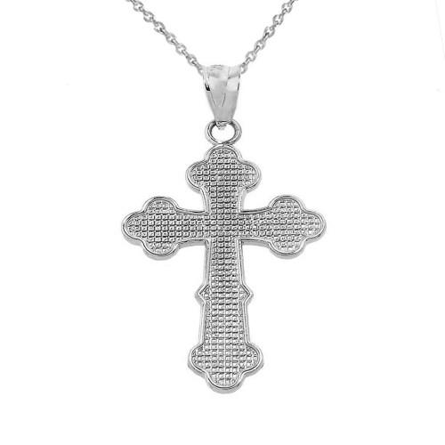 Solid White Gold Orthodox Cross Charm Pendant