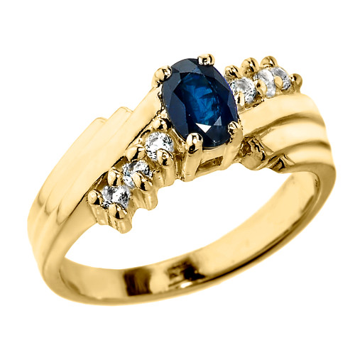 Dazzling Yellow Gold Diamond and Blue Sapphire Proposal Ring