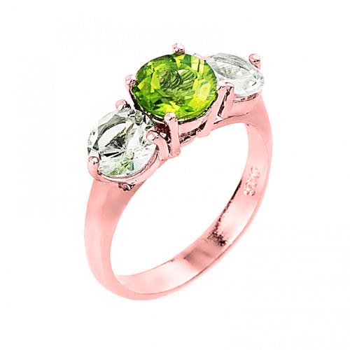 Rose Gold Three Stone Peridot and White Topaz Gemstone Engagement Ring