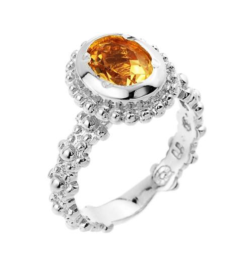 Citrine November birthstone ladies ring in 10k or 14k white gold.