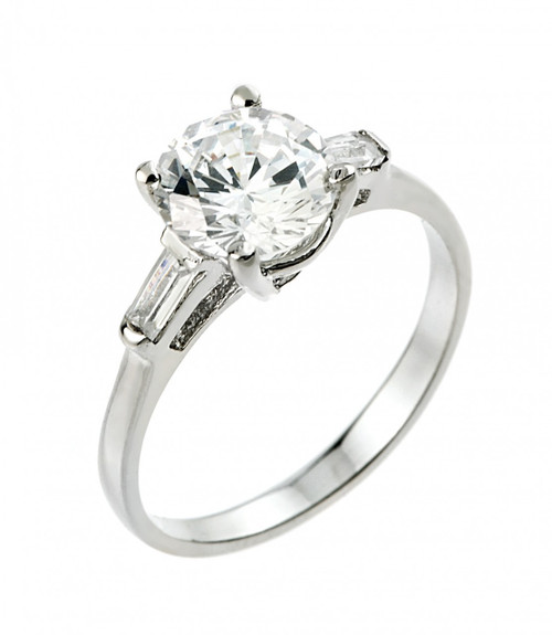 Sterling Silver 3 Stone CZ Solitaire Engagement Ring