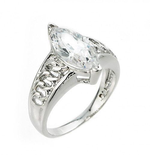 Elegant Sterling Silver 3.0 ct Marquise CZ Solitaire Ring