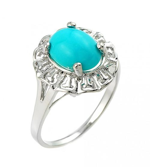 Sterling Silver Ladies Genuine Turquoise Gemstone Ring