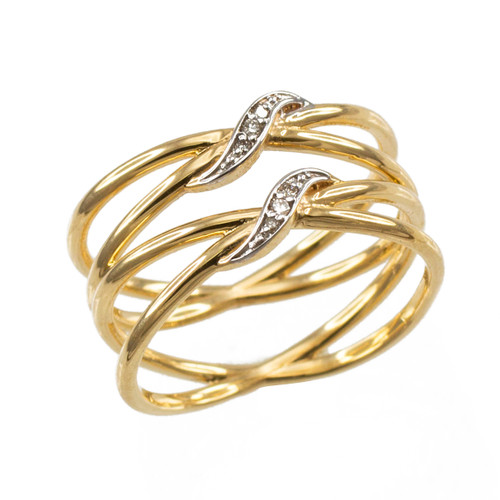 Gold Dainty Double Infinity Orbit Ring with Diamonds