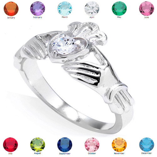 White Gold Cubic Zirconia Claddagh Birthstone Ring