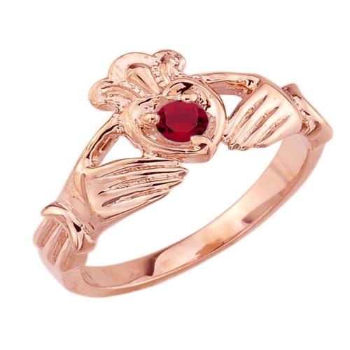 Rose Gold Cubic Zirconia Claddagh Birthstone Ring