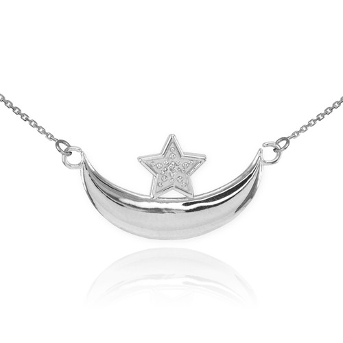 14k White Gold Diamond Crescent Moon and Star Islamic Necklace