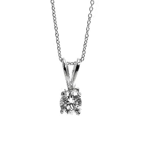 14K White Gold Cubic Zirconia April Birthstone Pendant Necklace