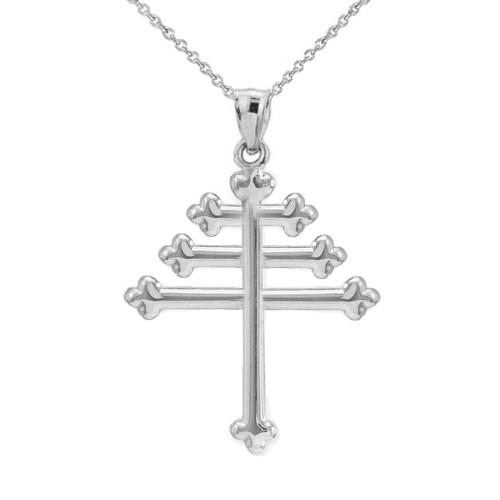 Solid White Gold Maronite Cross Pendant