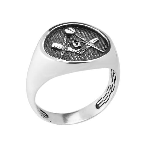 Sterling Silver Masonic Men's Ring