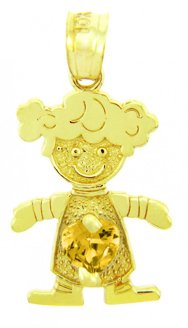 Yellow Gold Citrine CZ Heart Girl Birthstone Charm