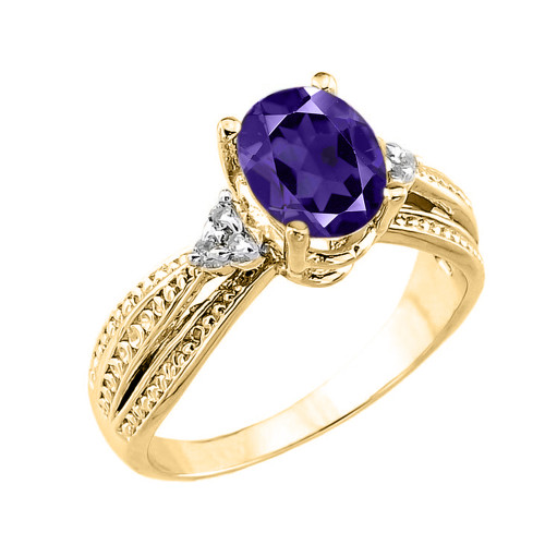 Yellow Gold Genuine Amethyst and Diamond Proposal Ring