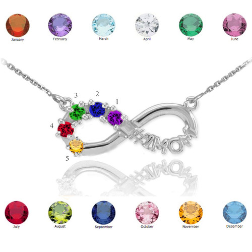 14K White Gold Infinity #1MOM Necklace with Five CZ Birthstones