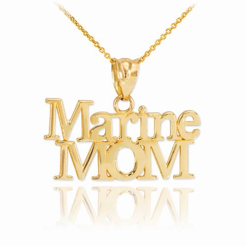 Gold Marine Mom Pendant Necklace