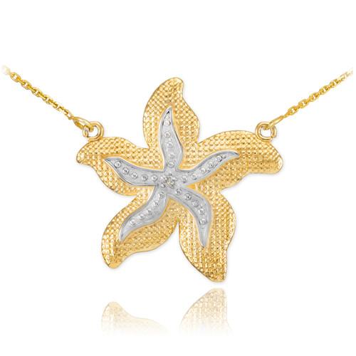 14k Two-Tone Gold Diamond Starfish Necklace