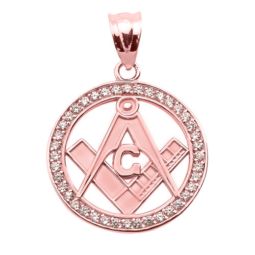 Rose Gold CZ Studded Freemason Masonic Pendant