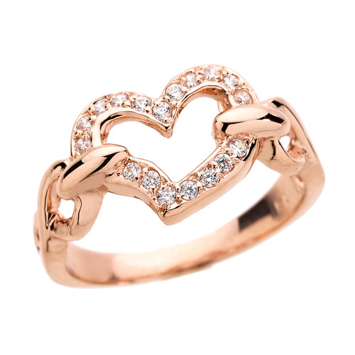 Rose Gold CZ Studded Infinity Heart Love Ring