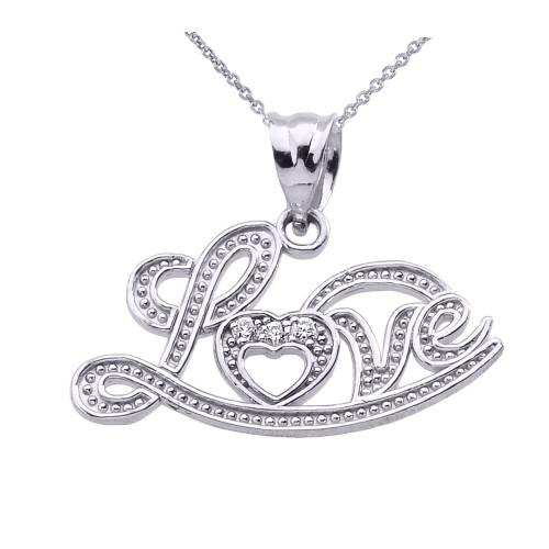 """""""Love"""" Script White Gold Diamond Pendant Necklace"""
