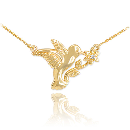 14k Gold Hummingbird with Diamond Flower Necklace