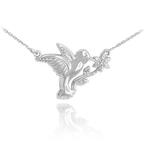 14k White Gold Hummingbird with Diamond Flower Necklace