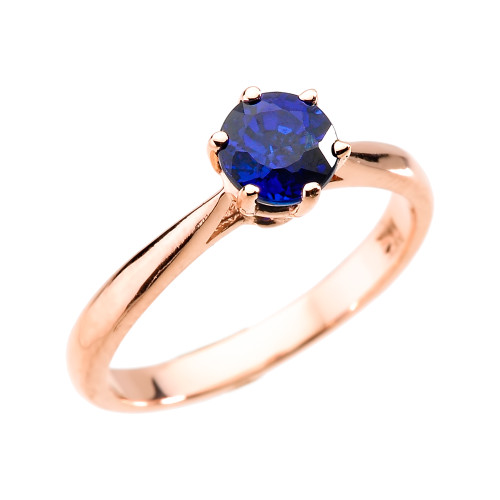 Rose Gold Blue Sapphire (Lab Created) Solitaire Proposal Ring