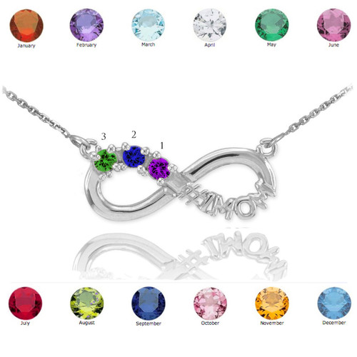 Sterling Silver Infinity #1MOM Necklace with Three CZ Birthstones